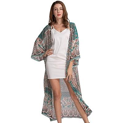 Zoye Chen Women's Loose Kimono Floral Print Chiffon Long Sleeve Cover Up (Coffee) at Amazon Women's Clothing store