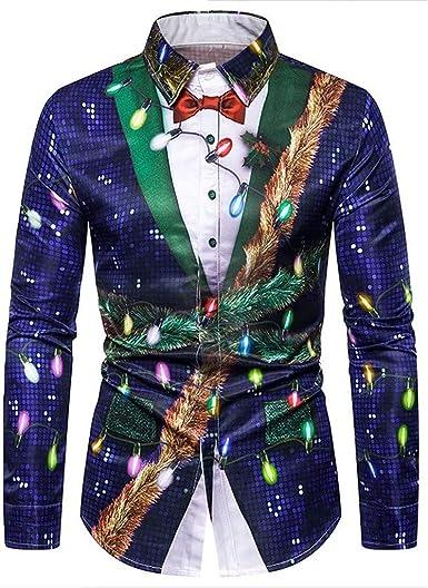 Luckycat Camiseta Navidad Hombre Moda Mangas Largas Casual ...