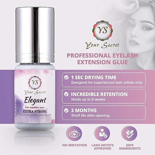 78f8183b58b Amazon.com : EXTRA STRONG Professional Eyelash Glue FOR SENSITIVE EYES|Drying  Time - 1 sec|Retention - 8 Weeks|LOW FUMES|No Irritation|Highly Flexible|YS  ...