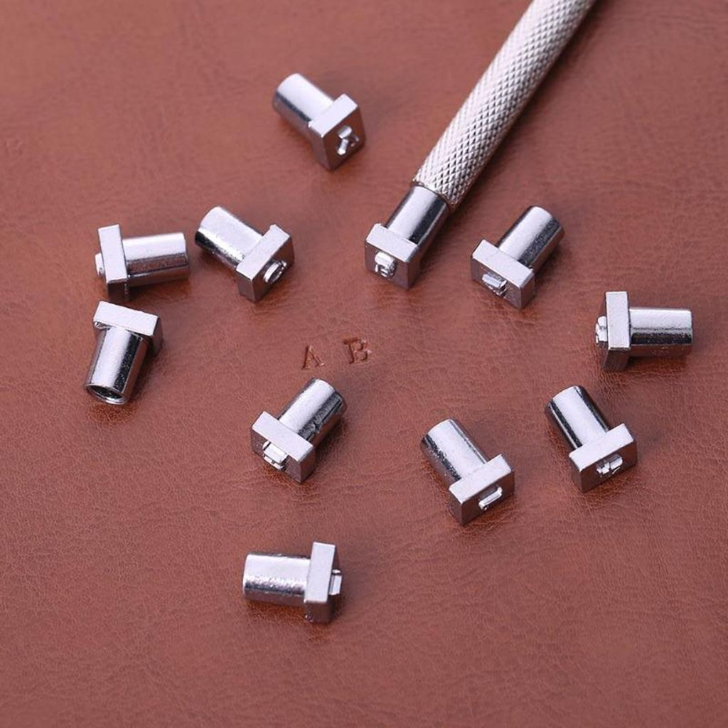 MagiDeal 37 Pcs//Set Alphabet Nombre Timbre Poin/çon Ensemble pour Cuir Artisanat Bricolage Outils Argent Blanc
