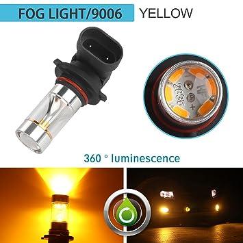 ZISTE 2 Piezas Extremadamente brillante Bombillas LED CREE XBD para niebla Luces indicadoras Intermitentes de reemplazo de color amarillo 9006 HB4: ...