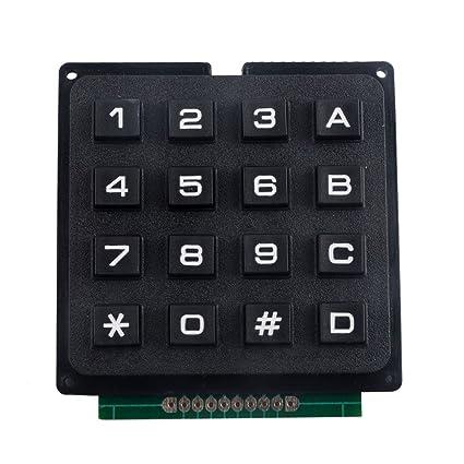 MagiDeal Matriz Matriz 4 X 4 16 Teclas Conmutan Teclado Módulo Teclado para Arduino