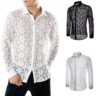 d7a473a5fbb49 Fathoit ☪ Homme Chemises Casual Shirt Tops Mode Hommes Dentelle Chemises à  Manches Longues Chemise Creuse Chemisier: Amazon.fr: Vêtements et  accessoires