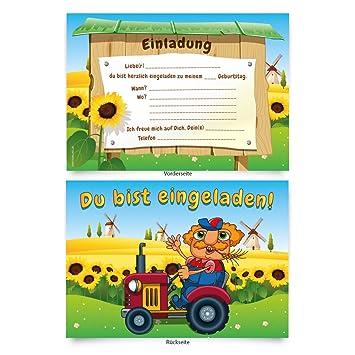 8 Einladungskarten Bauernhof Geburtstag Kinder Kindergeburtstag