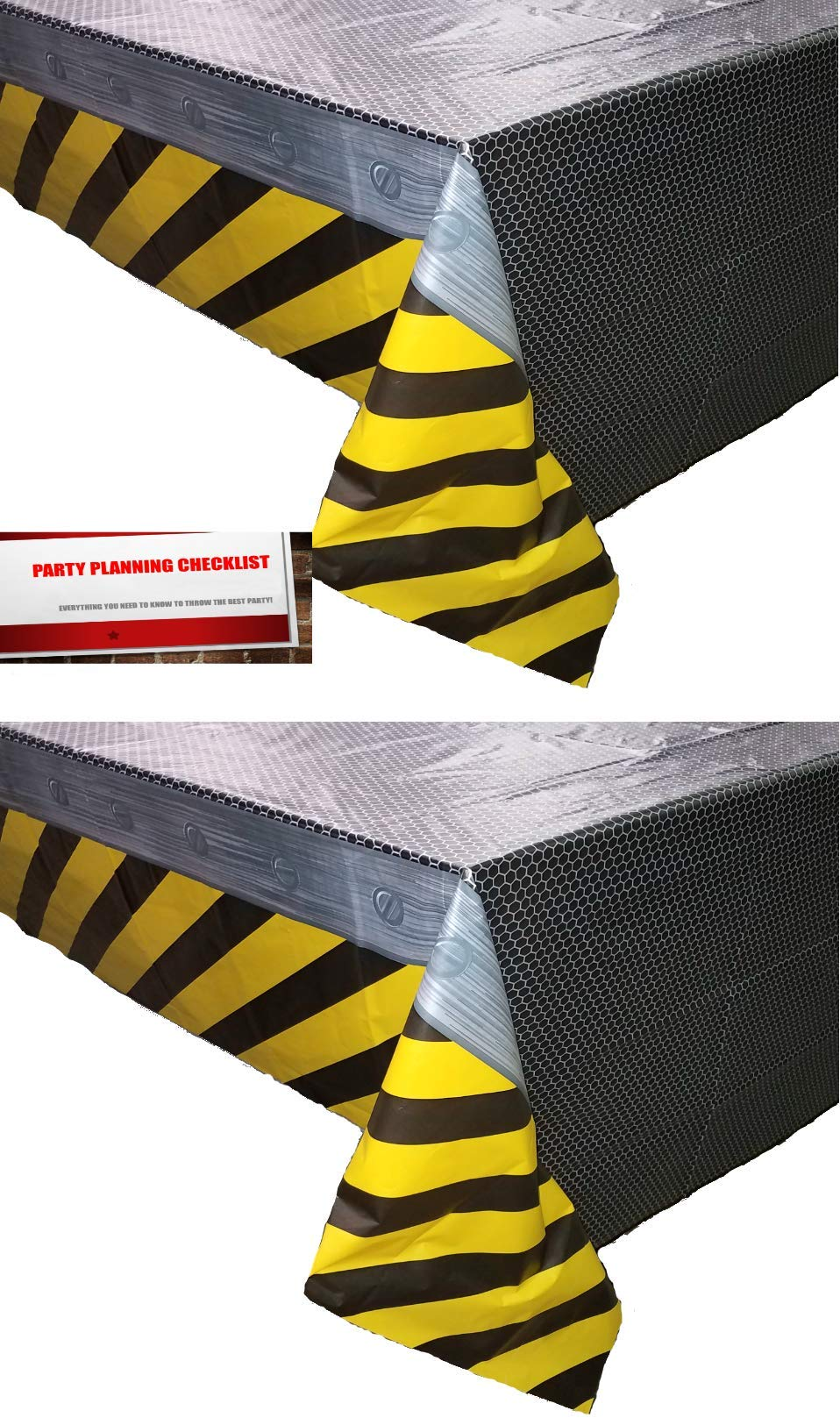 2 Pack Construction Zone All Over Print Birthday Plastic Table Cover, 54 x 108, Yellow/Black/Gray
