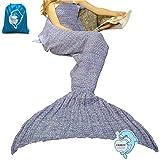 "LAGHCAT Mermaid Tail Blanket Crochet Mermaid Blanket for Adult, Soft All Seasons Sleeping Blankets, Whale Tail Pattern (71""x35.5"", Purple)"