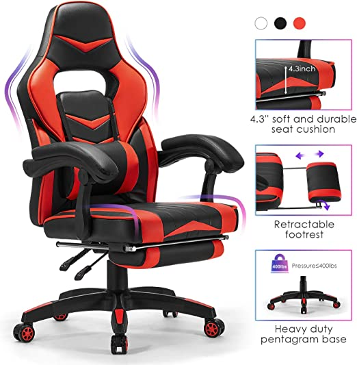 Office Blue PC Gaming Chair Ergonomic Reclining Racing Chair Computer Chair