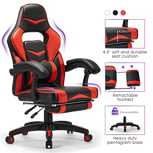 Kealive Gaming Chair Reclining Racing Chair, Ergonomic Office Chair with High Back Lumbar Support Footrest, Adjustable Swivel Computer Chair with PU Leather