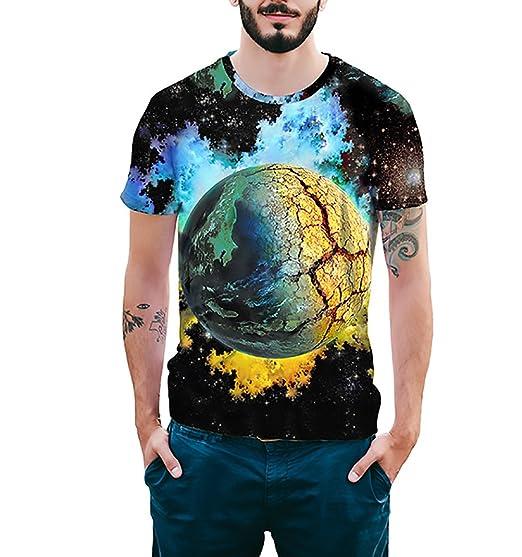 Camisetas Hombre HD 3D Imprimir Colorido Galaxia Universo T-Shirt Basicas Verano Manga Corta Cuello