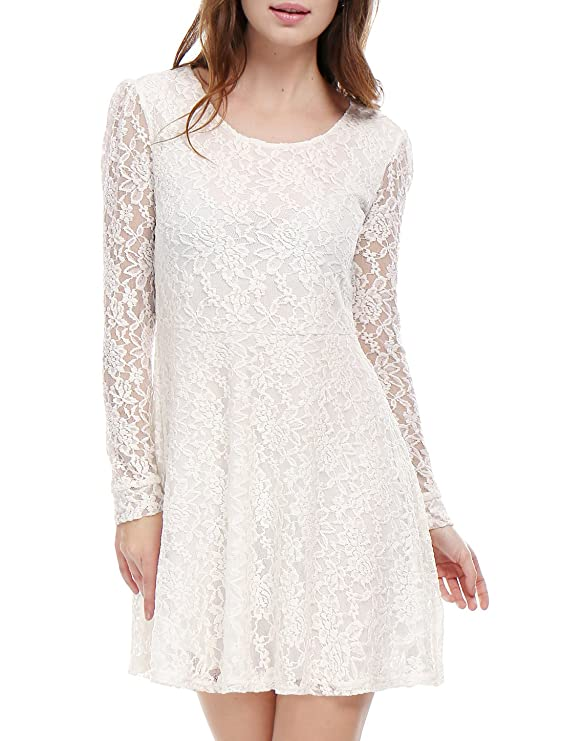 5930acaffb Amazon.com  Allegra K Women s Scoop Neck Sheer Floral Lace Mini Skater  Cocktail Party Dress  Clothing