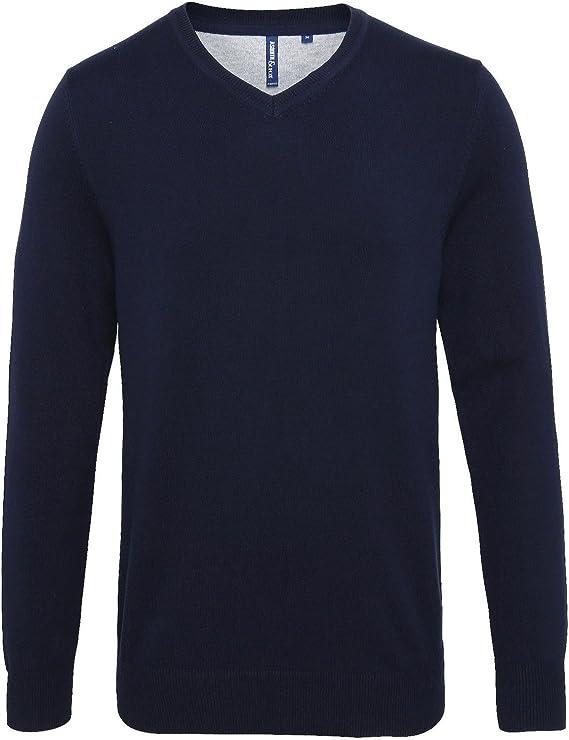Asquith & Fox Pull confortable en coton mélangé avec col en V pour homme