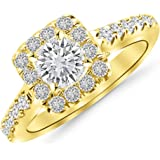 1.19 Cttw 14K Yellow Gold Round Cut Square Halo Diamond Engagement Ring with a 0.63 Carat I-J Color VS1-VS2 Clarity Center