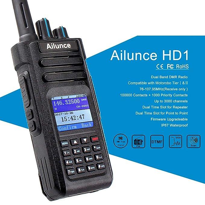 Ailunce HD1 DMR Digital Two Way Radio Dual Band Ham Radio 3000 Channels GPS  IP67 Waterproof Amateur Radio Compatible with Mototrbo TierⅠ&Ⅱ (Black)