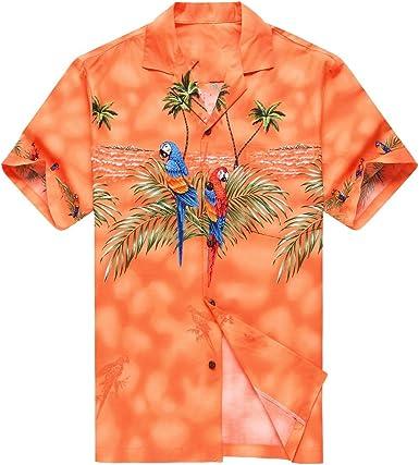 Hecho en Hawaii Camisa Hawaiana de los Hombres Camisa Hawaiana Naranja con Loro Delantero Que Hace Juego: Amazon.es: Ropa y accesorios