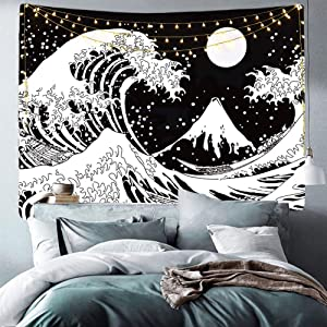Japanese Ocean Wave Tapestry Black and White Tapestry Wall Hanging, Ycool Kanagawa The Great Wave Tapestry with Moon Tapestries, Sun Aesthetic Wall Tapestry for Bedroom Dorm (Wave, 51.2