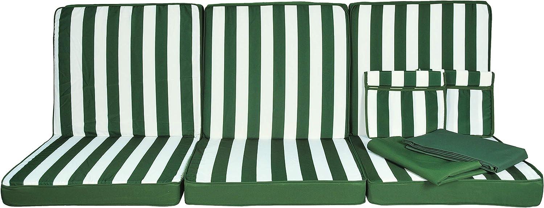 GREENBEE by Stiliac 4 posti Set Cuscino Dondolo 4posti Rigato Bianco Verde
