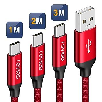 RAVIAD Cable USB Tipo C [3Pack, 1M 2M 3M] Cargador Tipo C Carga Rápida y Sincronización Cable USB C para Galaxy S10/S9/S8 Plus Note9, Xiaomi Mi A2/A1, ...