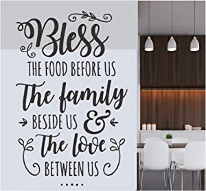 Kitchen Wall Vinyl Sticker Decor - Bless The Food Before us The Family Beside us & The Love Between us - Quote Inspirational Decal - Room Decor Art Mural Home Decoration Bedroom (Designs 15)