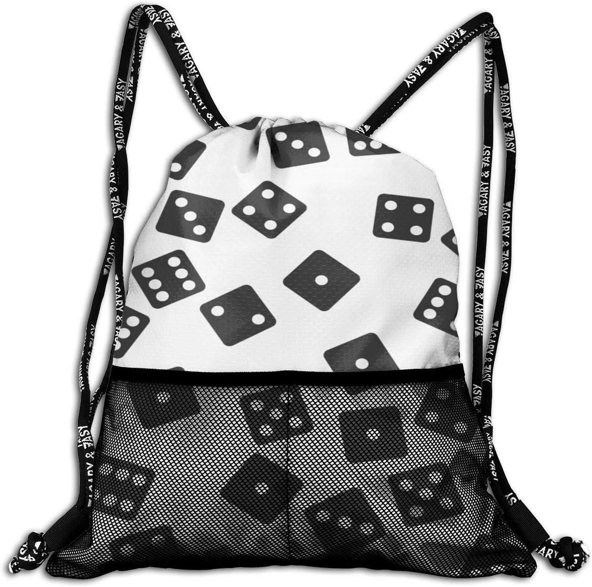 Drawstring Backpack Dice Gym Bag