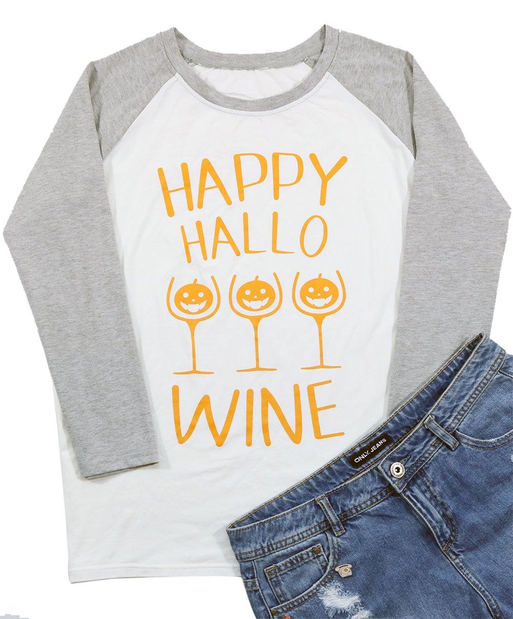 Happy Hallo Wine Wineglass Pumpkin Graphic Women's Shirt Splicing Sleeve Raglan Baseball Top Blouse Size Large (Gray)