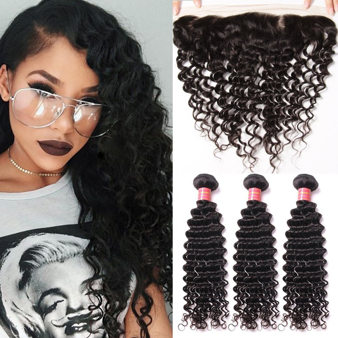 Ali Julia Hair Brazilian Virgin Deep Curly Wave Hair Bundles with Frontal Lace Closure 100% Unprocessed Human Hair Weave Extensions Natural Color (22 24 26+20 inch, Frontal with Bundles) by Yilian (Image #7)