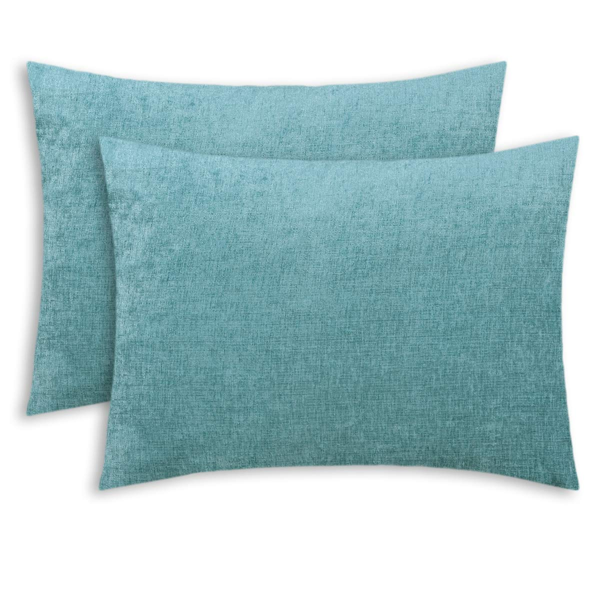 CaliTime Pack of 2 Cozy Standard Pillow Shams Cases for Bed Bedding Decoration Solid Dyed Soft Chenille 20 X 26 Inches Teal
