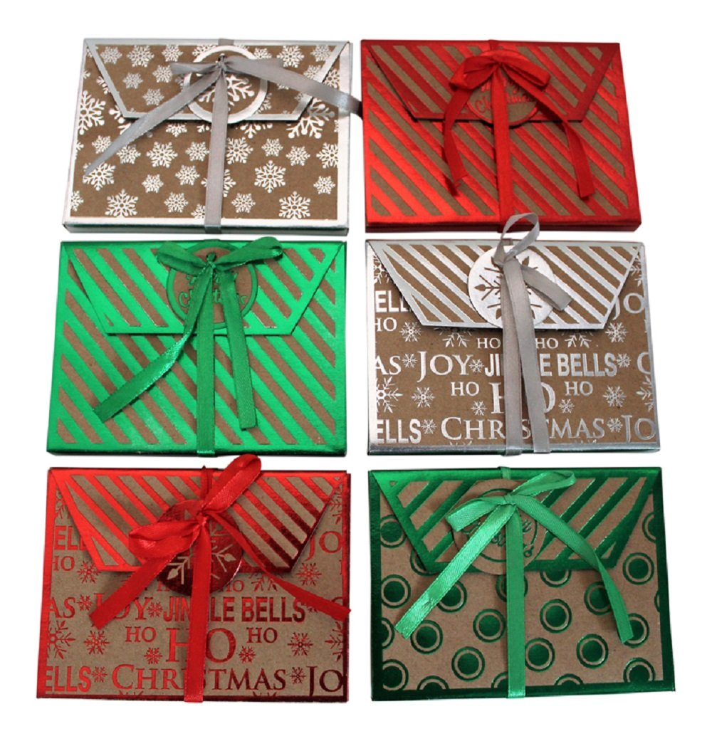 Christmas Kraft Foil Gift Card Holders- Assorted Holiday Designs -(18 Count} Alef