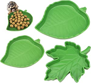 YOLUFER 3 Pieces Leaf Reptile Food Water Bowl Plate Dish for Tortoise Corn Snake Crawl Pet Drinking and Eating, 3 Different Sizes