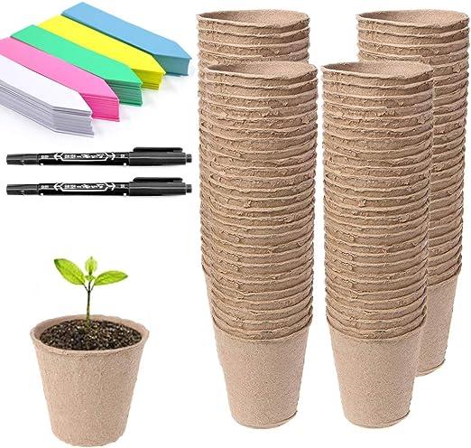 Abimars 100 Piezas Macetas de Semillas de Fibra Biodegradable de 8 ...