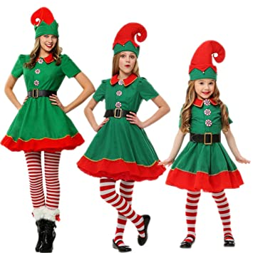 Yastyen Christmas Elves Costumes Women Christmas Halloween Costume Long Sleeve Green And Red Girl Elf Dress  sc 1 st  Amazon.com : women christmas costume  - Germanpascual.Com