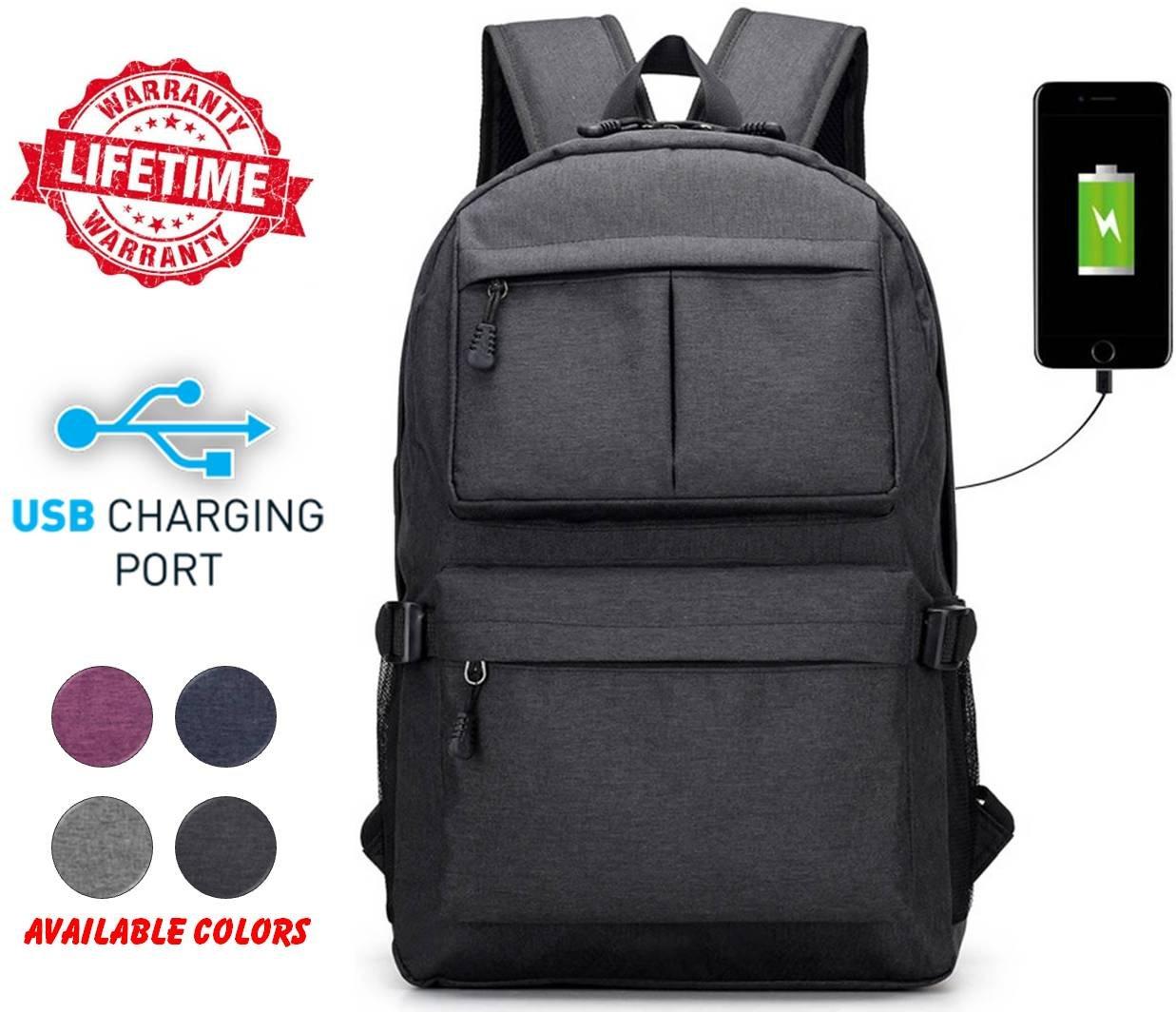 High School College Unisex Outdoor Heavy Duty Laptop Backpack Bag Charging USB Port Running, Hiking, Sports, Jungle, Camping, Cycling & Fishing, Men & Women (Black)