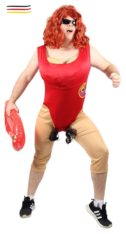 Foxxeo 40314 | Divertido Hombre Disfraz para Hombres socorrista | tamaño m, L, XL, XXL, Sexy Salvavidas Nadadora con busen babew atch Bañador Soltero ...