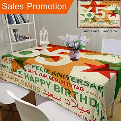 Unique Design Cotton And Linen Blend Tablecloth 65Th Birthday Decorations Happy In Languages French Italian