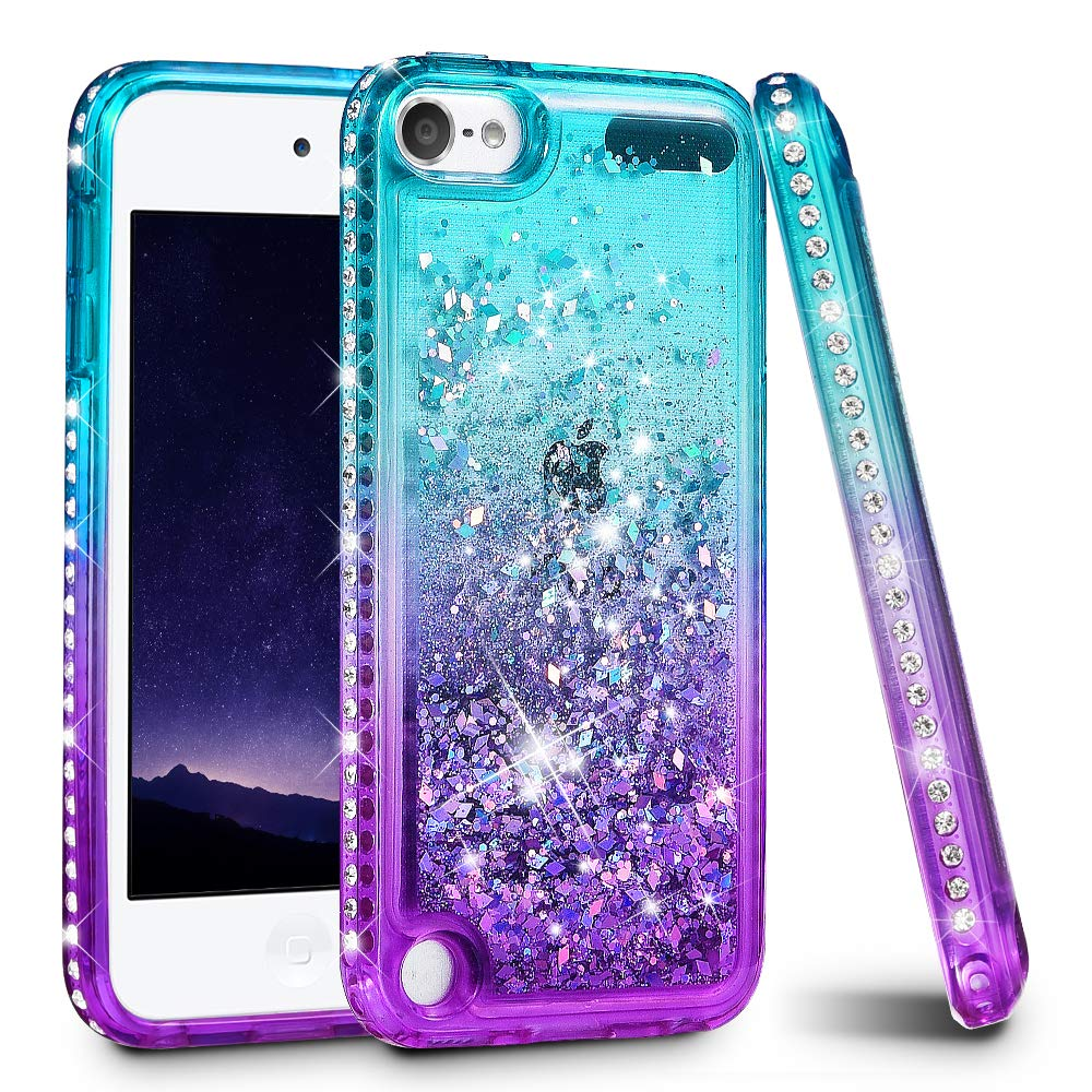iPod Touch 5/6 Case, iPod Touch Case 5th/6th Generation for Girls Women, Ruky Quicksand Series Glitter Flowing Liquid Floating Bling Diamond Flexible TPU Cute Case for iPod Touch5/6 - Teal/Purple