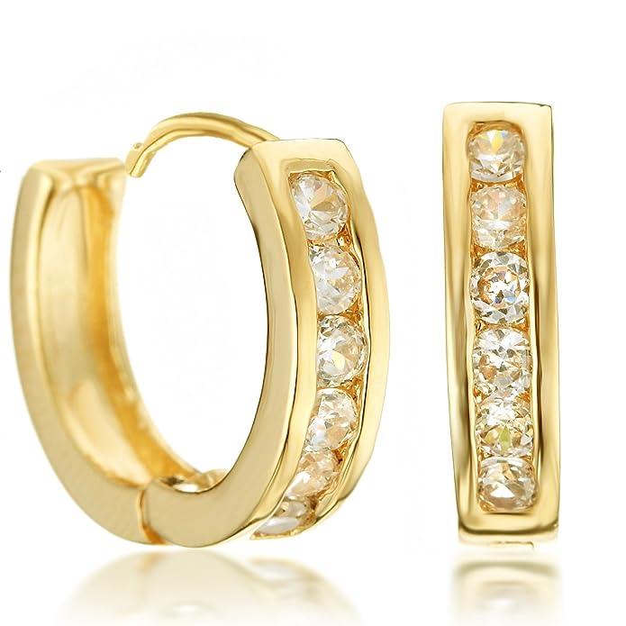 Gemini Creolen (Gelb Gold, 18K), attraktive Glitzer & Strass Elemente mit Kristall Steinen, Luxus Design, Rundform, für jeden