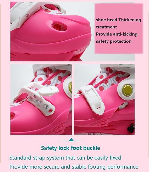 DSFGHE Roller Skates 2 in 1 Dual Use Adjustable Size Children Beginners Boys Girls Flash Skates Safety Childrens Skating,Pink-M