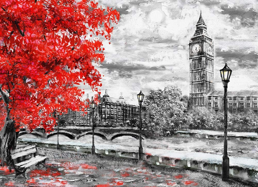London Red Tree Black white Oil Paint Big Ben Framed Canvas Print Wall Art pp99