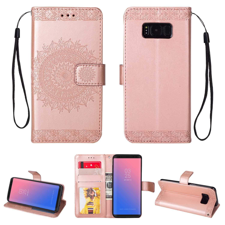 HCUI Compatible avec Galaxy S8 Plus Coque Cuir Étui Wallet Housse, Portefeuille de Protection Coque avec Fonction Support Magnétique Pochette Antichoc Coque pour Galaxy S8 Plus - Or.