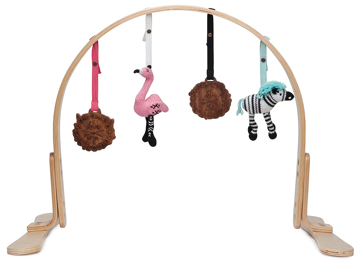 Finn + Emma Play Gym, Organic Cotton and Natural Wood with Hand-Knit Rattle and Teether Stroller Toys for Baby Boy or Girl – Miami Zoo - Natural