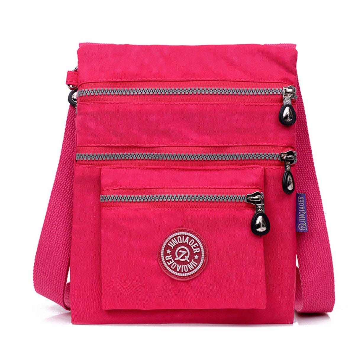 TianHengYi Small Water Resistant Nylon Cross-body Shoulder Bag Multilayers Rose