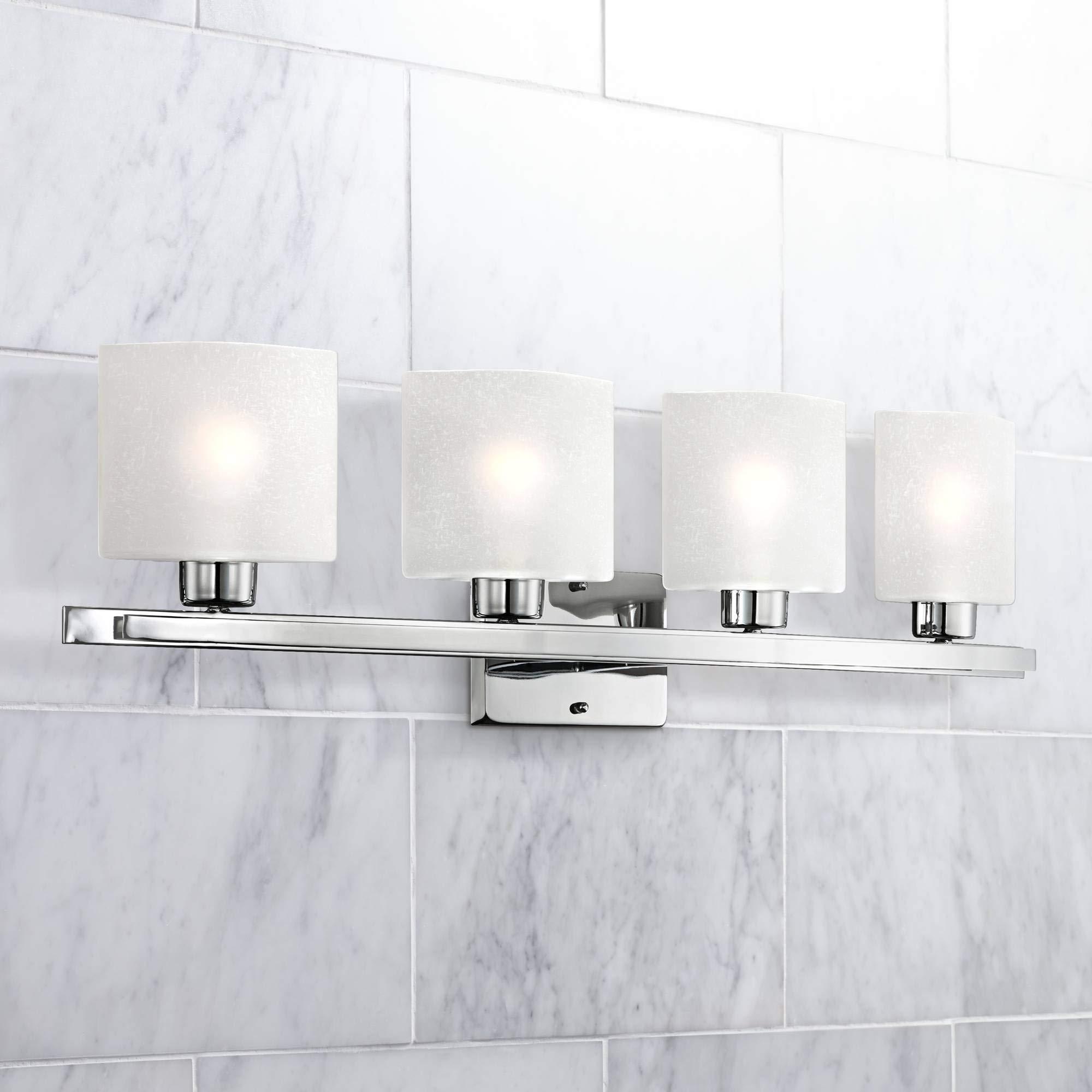 Possini Euro Linen Glass 32'' Wide Chrome 4-Light Bath Light - Possini Euro Design