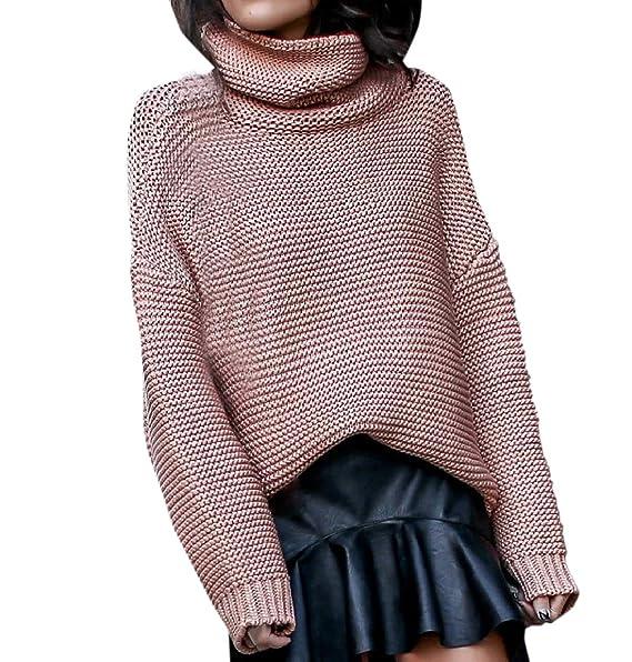 Simple-Fashion Otoño y Invierno Mujeres Suéter Moda Clásico Colores Lisos  Prendas de Punto Tops Sweater Blusa Jerseys Casual Manga Larga Jerséis de  Cuello ... 7725a638fecb