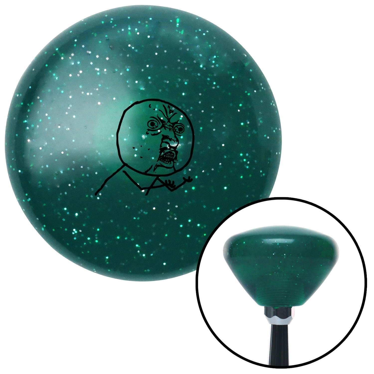 Black Yuno Green Retro Metal Flake with M16 x 1.5 Insert American Shifter 291704 Shift Knob