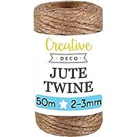 Creative Deco 50 m Jute Koord Natuurlijk | 2-3 mm Dikte 3-Lagige Jutesnaar Tape Pakketrol Bruin Sterk | Decoratie…