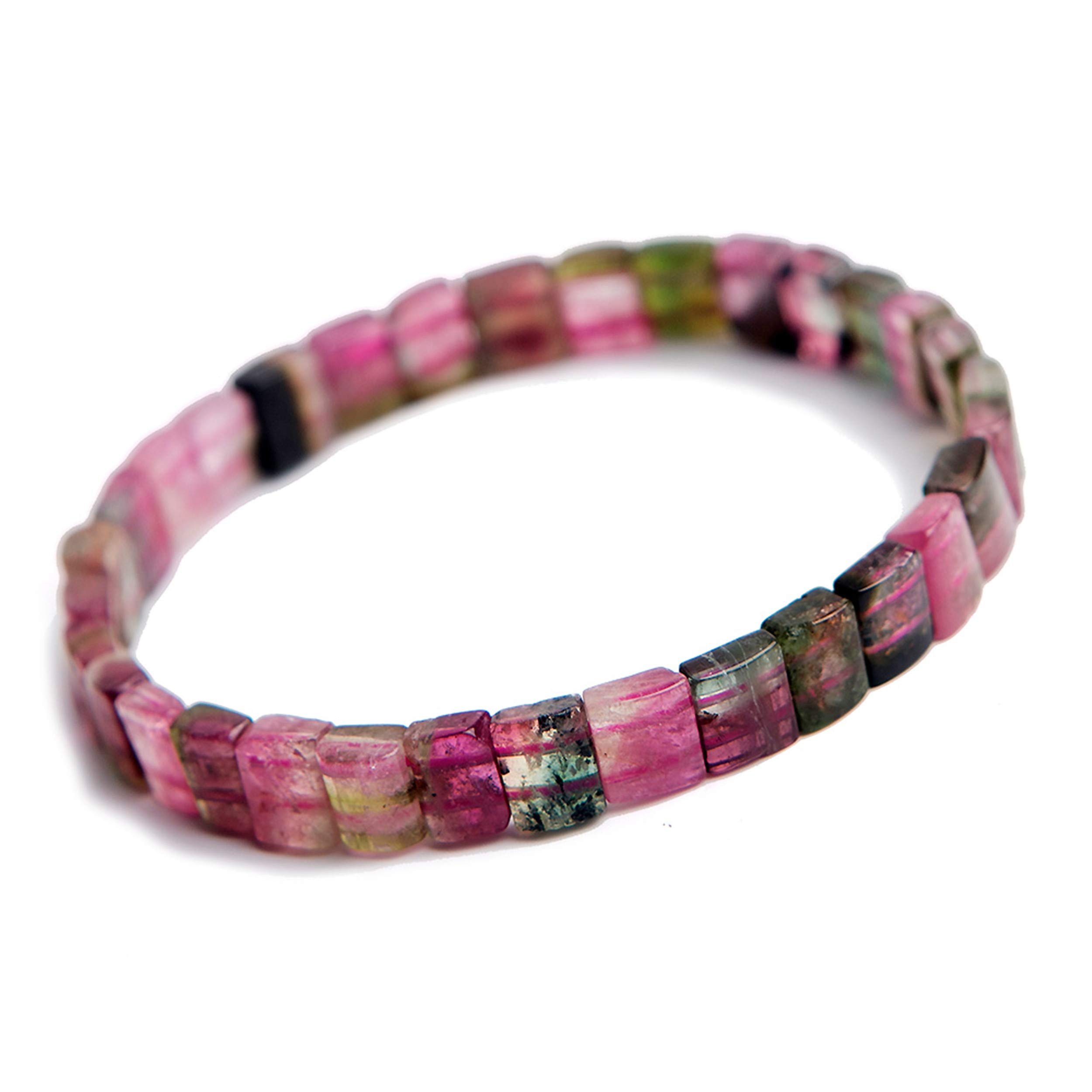 Natural Bangle Colorful Tourmaline Rectangle Beads Crystal Elastic Bead Bracelet