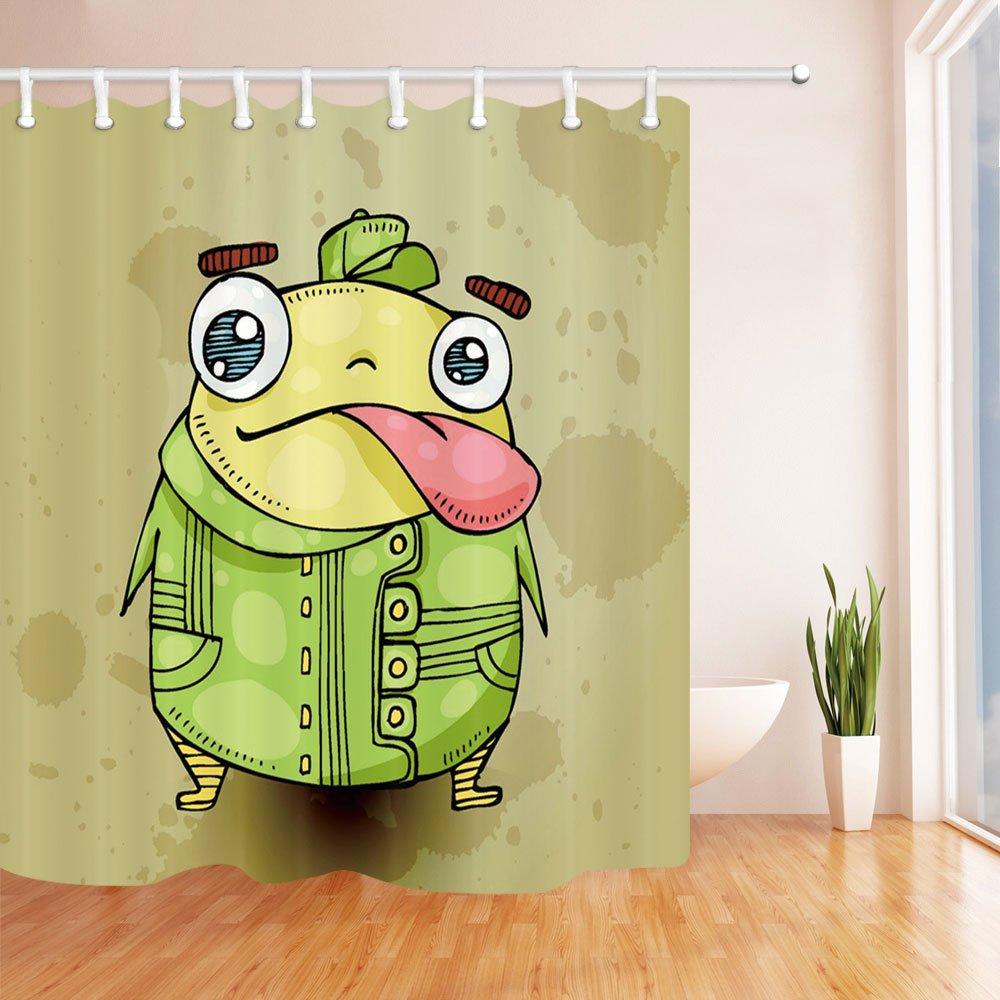 Amazon.com: Funny Green Frog Fashion Shower Curtain in Bath 70 x 70 ...