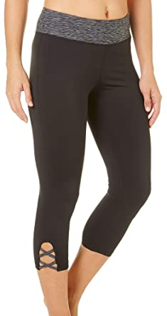 c01c3f9702 Brisas Womens Space Dye Waistband Lattice Capri Leggings Small Black/Multi