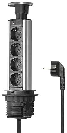 Elbe Versenkbare Tischsteckdose, Tischsteckdosenleiste Mit Chromedeckel,  Steckdosenleiste Aus Aluminium Mit 1,5m Anschlusskabel