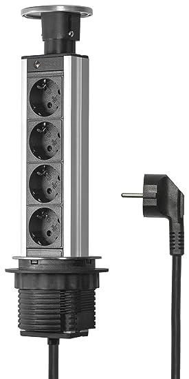 Elbe Prise escamotable 4 Prises avec Couvercle plaqué en métal Diamètre  80mm Norme allemande Bloc prise be97009ac269