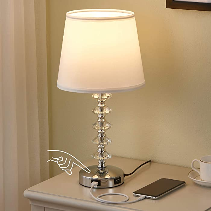 Touch Bedside Lamp with 2 USB Ports, Crsytal Touch Table Lamp Nightstand Lamp for Bedroom, 3 Way Dimmable Bedside Table Lamp for Bedroom, Living Room and Office (LED Bulb Included)